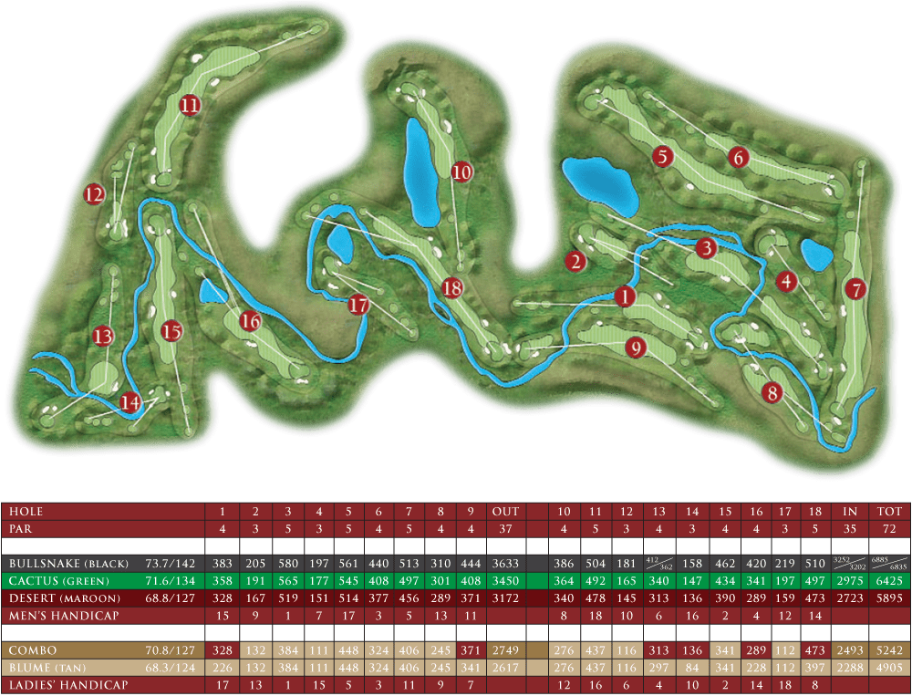 Desert Blume Golf Club score card